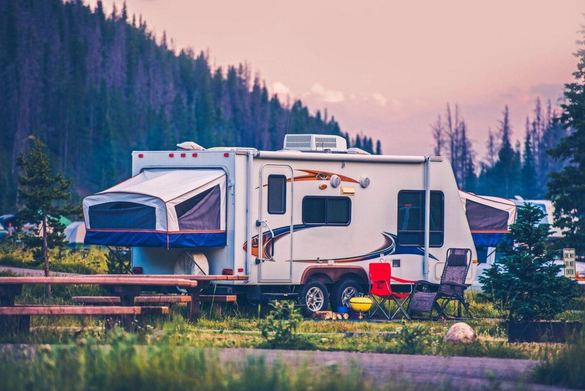 An RV at a campsite