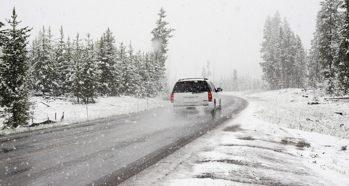 SUV driving in winter