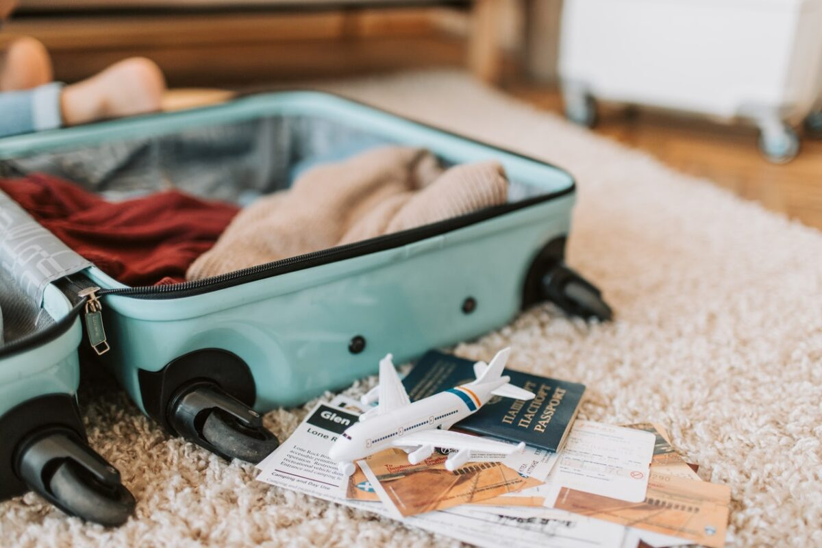 suitcase with travel docs